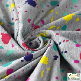 Tissu sweat coton motif tâche - Gris chiné et multicolore - Oeko-Tex ®