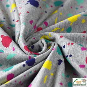 Tissu sweat coton motif tâche -  Gris chiné et multicolore