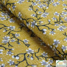 Tissu jersey viscose motif fleur - Ocre - Oeko-Tex ®