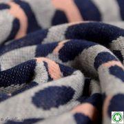Tissu jacquard motif léopard Safari - Gris et rose - Bio - ALB Stoffe ® - Hamburger Liebe ® Hamburger liebe ® - 2