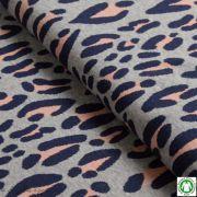 Tissu jacquard motif léopard Safari - Gris et rose - Bio - ALB Stoffe ® - Hamburger Liebe ® Hamburger liebe ® - 1
