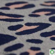 Tissu jacquard motif léopard Safari - Gris et rose - Bio - ALB Stoffe ® - Hamburger Liebe ® Hamburger liebe ® - 4