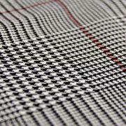 Tissu gabardine de coton stretch motif Prince de Galles - Gris et rouge