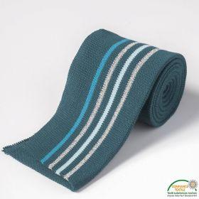 Bord côte double à rayure - Bleu paon, turquoise, argenté et bleu clair