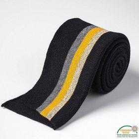 Bord côtes double à rayure - Noir, gris, doré et jaune moutarde Autres marques - Tissus et mercerie - 1