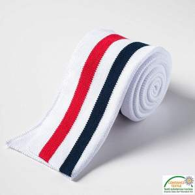 Bord côte double à rayure - Blanc, bleu et rouge