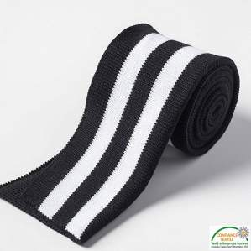 Bord côtes double à rayure - Noir et blanc Autres marques - Tissus et mercerie - 1