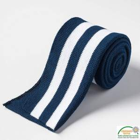 Bord côtes double à rayure - Bleu marine et blanc Autres marques - Tissus et mercerie - 1