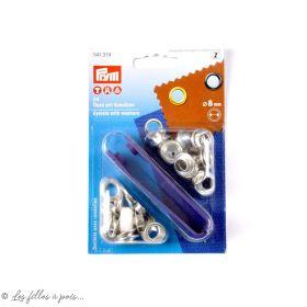 Oeillets à sertir avec outils de pose - Rond - 8mm - Boite de 24 - Prym ®