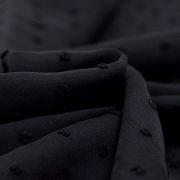 Tissu mousseline plumetis pois - Noir - Oeko-Tex ®