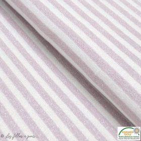 Tissu jersey viscose maille lurex motif rayure - Gris taupe et écru - Oeko-Tex ®