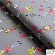 Coupon tissu jersey coton motif fillettes et cerise - 80cm Autres marques - 1