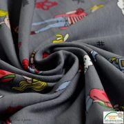 Coupon tissu jersey coton motif fillettes et cerise - 80cm Autres marques - 8