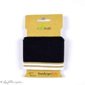 Bord côte motif rayure Glam - Noir, blanc et lurex doré - ALF Stoffe ® - Hamburger Liebe ®