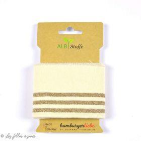 Bord côte motif rayure Glam - Ivoire et lurex doré - ALB Stoffe ® - Hamburger Liebe ® - Bio