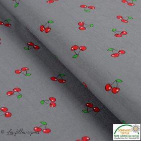 Tissu jersey coton motif cerise - Gris et rouge - Oeko-Tex ®