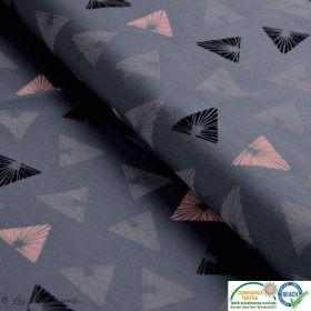 Tissu jersey coton motif triangle - Gris et rose - Oeko-Tex ®