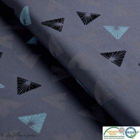 Tissu jersey coton motif triangle - Gris et vert d'eau - Oeko-Tex ®