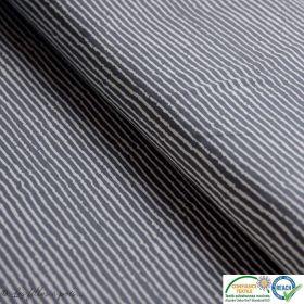 Tissu jersey coton motif rayure - Gris et écru - Oeko-Tex ®