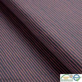 Tissu jersey coton motif rayure - Gris et rose - Oeko-Tex ®