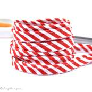 Passepoil polycoton motif rayure - Esprit berlingo - Rouge et blanc - 12mm