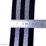 Elastique plat - Noir et Lurex argenté - 38mm