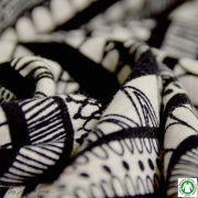 Tissu french terry coton rayure - Blanc cassé et noir - Bio - Lillestoff ®