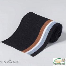 Bord côte plat à rayure - Noir, gris et marron