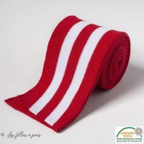 Bord côte double à rayure - Rouge et blanc