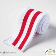 Bord côtes double à rayure - Blanc et rouge Autres marques - Tissus et mercerie - 1