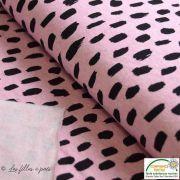 Tissu sweat coton motif peinture - Rose et noir - Oeko-Tex ®