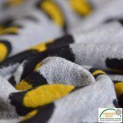 Tissu molleton gratté motif léopard - Gris et jaune moutarde