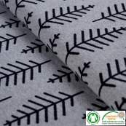 Tissu jacquard motif feuille Botanical Trail - Gris et noir - Bio - ALB Stoffe ® - Hamburger Liebe ®
