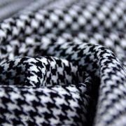 Tissu gabardine de coton stretch motif pied de poule - Noir et blanc