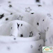 Tissu double gaze de coton motif étoile - Blanc et noir - Oeko-Tex ®