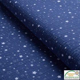 Tissu double gaze de coton motif étoile - Bleu jean et blanc - Oeko-Tex ®