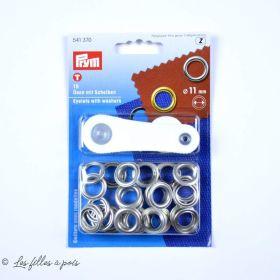 Oeillets à sertir avec outils de pose - Rond - 11mm - Boite de 15 - Prym ®