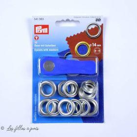 Oeillets à sertir avec outils de pose - Rond - 14mm - Boite de 10 - Prym ®